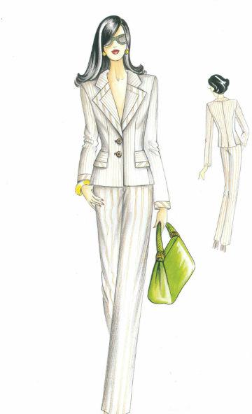 пошить в самаре женский брючный костюм из костюмной ткани в полоску