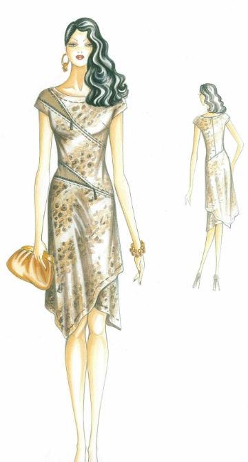 сшить трикотажное платье ассиметричного кроя