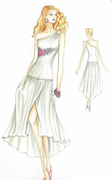 платье приталенного силуэта с воланом от бедра пошить в ателье